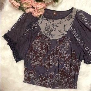 LANGUAGE Purple Flowy Bell Arm Floral Print Top XS